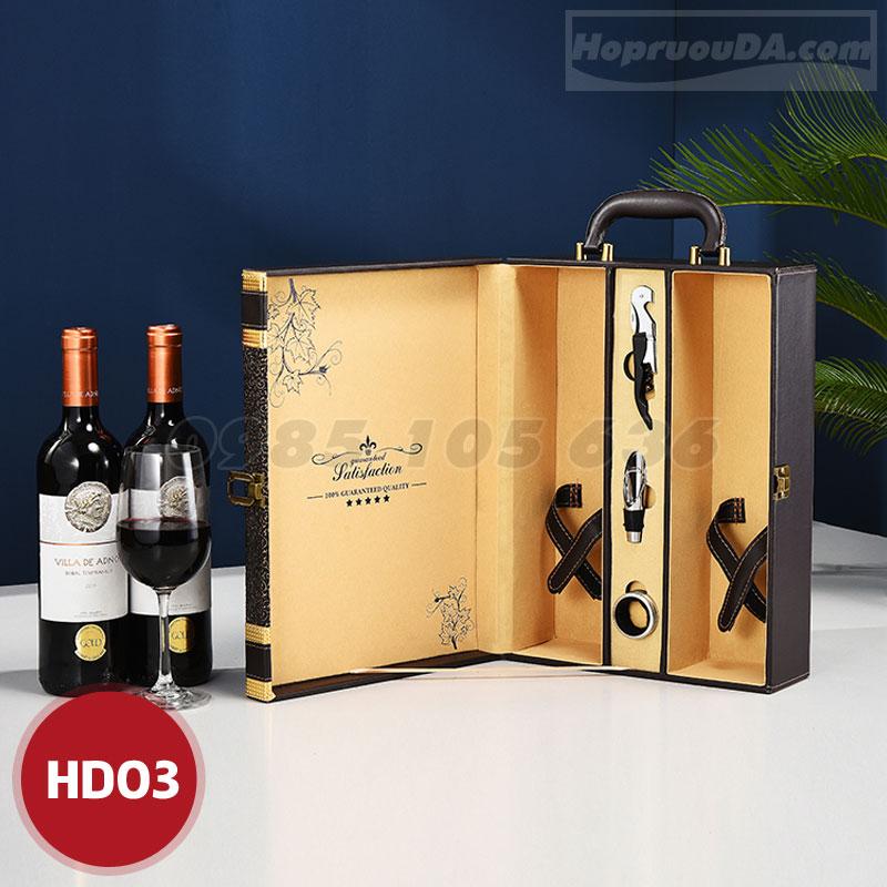 Hộp rượu da đôi cao cấp giá rẻ tại Hà Nội