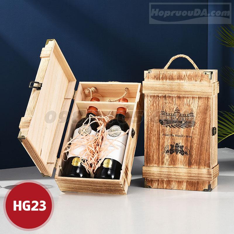 Mua hộp gỗ đựng rượu đôi cao cấp ở đâu Hà Nội?