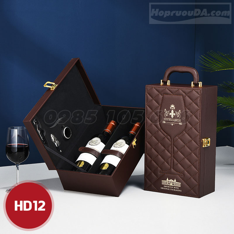 Địa chỉ mua hộp quà tặng đựng rượu vang bằng da tại Hà Nội