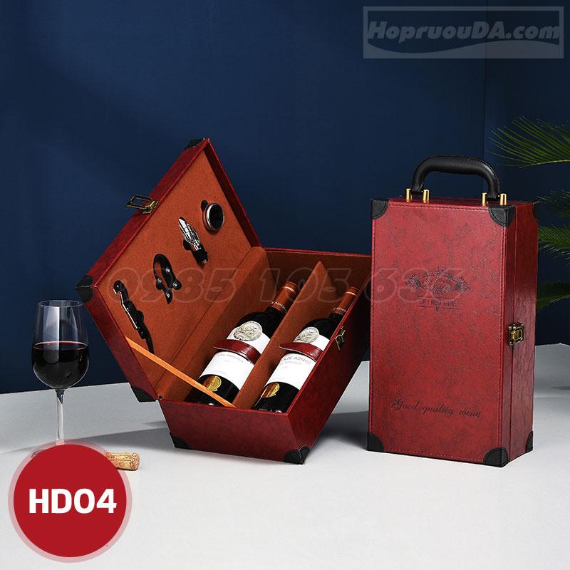 Địa chỉ bán hộp rượu bằng da đựng 2 chai sang trọng ở Hà Nội