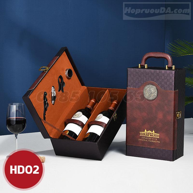 Địa chỉ mua hộp rượu da đôi sang trọng HD02 ở Hà Nội?