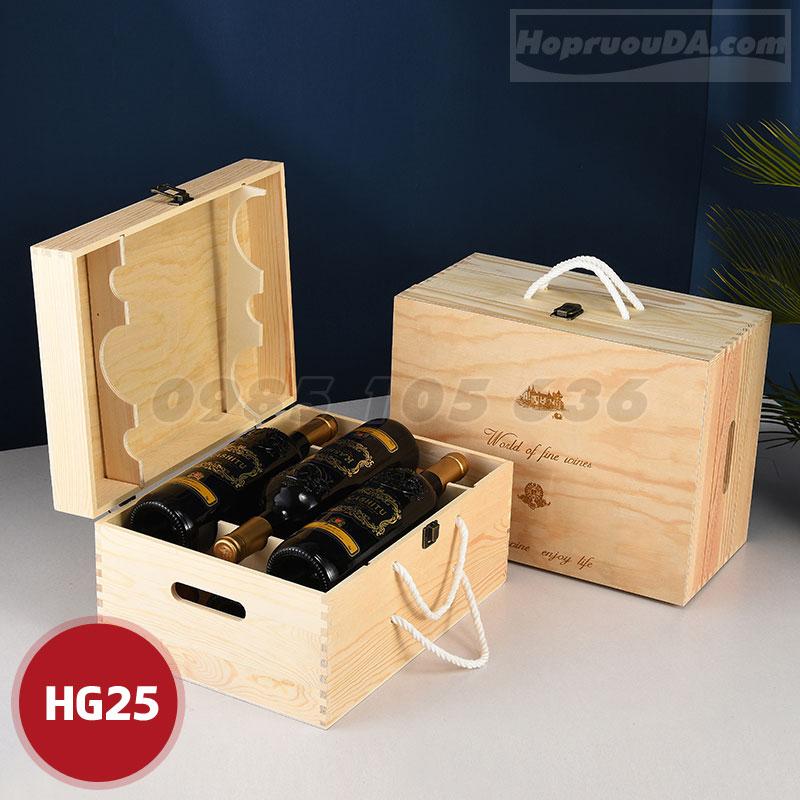 Hộp rượu gỗ giá rẻ đựng 6 chai